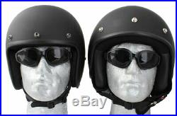 Daytona Low Profile Matt Black Custom Bobber open face biker helmet & freebies