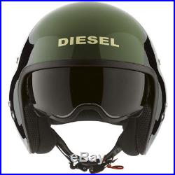 Diesel Hi Jack Black / Green Open Face Motorcycle Helmet