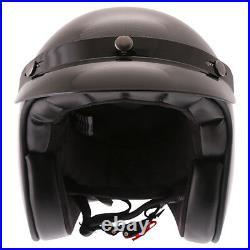 Frank Thomas 361 Gloss Black Carbon Fiber Motorcycle Helmet Open Face Retro J&S