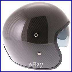 Frank Thomas 363 Gloss Black Carbon Fiber Motorcycle Helmet Open Face Visor J&S