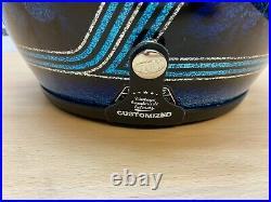 Genuine 70's Open Face Helmet, Blue Fish Scales for Harley-Davidson / Custom