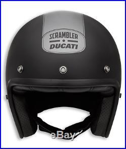 Genuine Ducati Scrambler I. I. Open Face Retro Vintage Matte Black Helmet with Peak