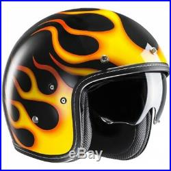 HJC FG-70S Aries Open Face Motorcycle Helmet L Black Yellow Motorbike Bike Urban