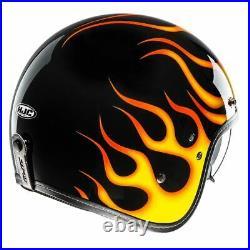 HJC FG-70s Aries Flames Lightweight Fibreglass Open Face Motorcycle Crash Helmet