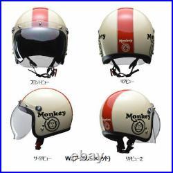 HONDA MONKEY Original Open Face Helmet Bubble Shield Ivory Red size L 59-60 cm