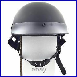 HTTMT German Style Motorcycle Half Helmet Open Face DOT Cruiser Chopper Cap L