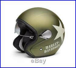 Harley Davidson Military Retro Open Face Helmet, Olive Gold, 98241-16EM Medium