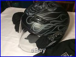 Harley Davidson Open Full Face Helmet HD-M01 Matte Black DOT (size LG) + Gloves