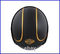 Harley-davidson Bougie Gloss Black & Gold Open Face Helmet 98174-20ex Medium