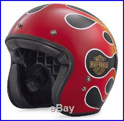 Harley-davidson Helmet Bell Custom 500 Open Face Eu/uk Road Legal Flames