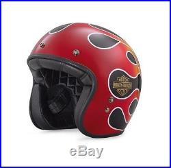 Harley-davidson Open Face Helmet Eu/uk Road Legal Bell Custom 500 Flame
