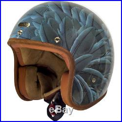 Hedon Hedonist Apache Feathers Open Face Retro Classic Motorcycle Bike Helmet
