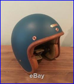 Hedon Hedonist Open Face Motorcycle Helmet Matt Teal Medium USED