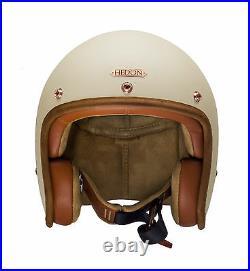 Hedon Hedonist Open Face Motorcycle Motorbike Scooter Crash Helmet Creme
