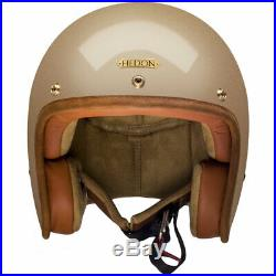 Hedon Hedonist Retro Cafe Racer Open Face Motorcycle Helmet Champagne Small
