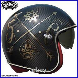 Helmet Premier VINTAGE EVO CARBON NX GOLD CHROM S Open Face Motorbike Size S