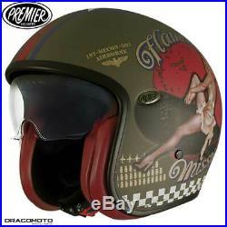 Helmet Premier VINTAGE EVO PIN UP MILITARY BM M Open Face Motorbike Size M
