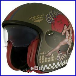 Helmet Premier VINTAGE EVO PIN UP MILITARY BM XL Open Face Motorbike Size XL