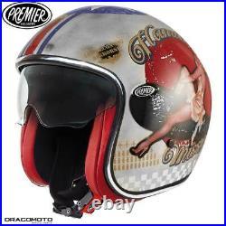 Helmet Premier VINTAGE EVO PIN UP O. S. SILVER L Open Face Motorbike Size L