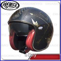 Helmet Vintage Carbon Nx Gold Chromed Premier Open Face Jet with visor