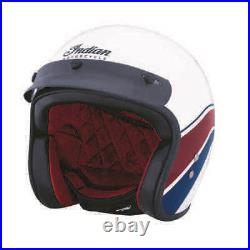 Indian Motorcycle Retro Open Face Helmet with Stripe and Checkers