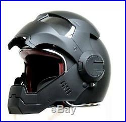 Iron Man Helmet Half Open Face Black Casque Motocross Motorcycle Cap Cover New