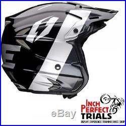 Jitsie Domino Helmet Black/grey/silver Offroad Trials Bike Open Face LID