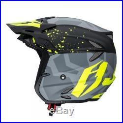 Jitsie Kroko Offroad Trials Bike Riding Open Face Helmet Grey/yellow Size XL