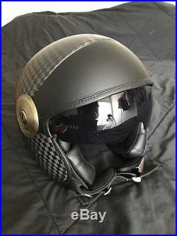 LS2 Cabrio Carbon Fiber Open Face Motorcycle Helmet Black LG Large 597-1004