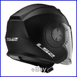 LS2 Helmets Open Face Verso Motorcycle Helmet Solid Matte Black 570-101