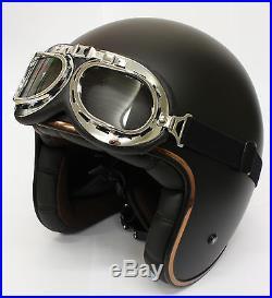 LS2 OF583 Matt Black Low Profile Open Face Cruiser Bobber Helmet + Freebies