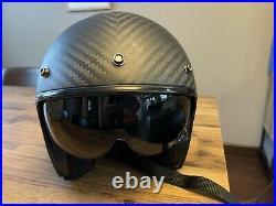 LS2 OF601 XL 62cm Bob Carbon Fibre Open Faced Helmet With Visor
