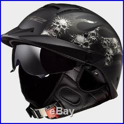 LS2 Rebellion Bones Skulls Open Face Motorcycle Helmet with Drop Down Sun Visor