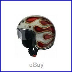 L Large AIROH Riot Flame Red Glitter Motorbike Helmet Open Face w Visor