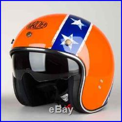 L Large AIROH Riot General Motorbike Helmet Open Face w Visor Orange