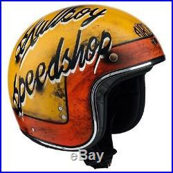 L Large AIROH Riot Skullboy Speedshop Motorbike Helmet Open Face w Visor