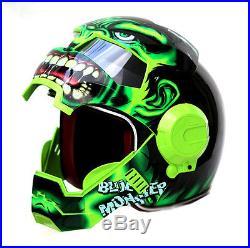 Large Hulk 3/4 Open Face Green Motorcycle Biker Cruiser Helmet NOVELTY NEW