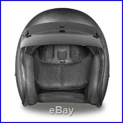 Low Profile Helmet Daytona Gun Metal Grey Motorcycle Bobber Cruiser open face