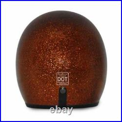 Low Profile Helmet Daytona Root Beer Metalflake Open Face Bobber Motorcycle