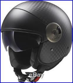 Ls2 Of597 Cabrio Open Face Scooter Urban Motorcycle Motorbike Helmet Carbon Fibr