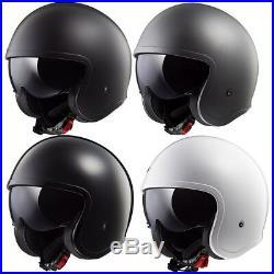 Ls2 Of599 Spitfire Open Face Low Profile Motorcycle Helmet Drop Down Sun Visor