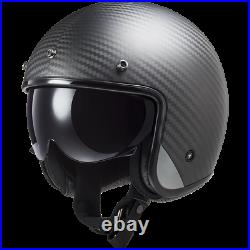 Ls2 Of601 Bob Carbon Fibre Open Face Low Profile Motorcycle Helmet Sun Visor