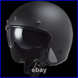 Ls2 Of601 Bob Fibreglass Open Face Low Profile Motorcycle Helmet Matt Black