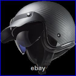 Ls2 Of601 Bob Open Face Low Profile Motorcycle Helmet Sun Visor Carbon Fibre