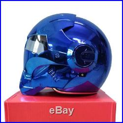 MASEI 610 Electroplate Blue Chrome Plating IRONMAN Open Face Helmet Motorcycle