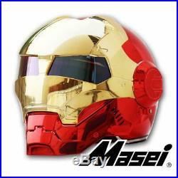 MASEI 610 Iron Man Electroplate Helmet Half Open Face Motorcycle Helmet DOT