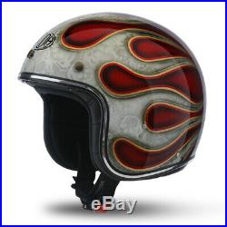 M Medium AIROH Riot Flame Red Glitter Motorbike Helmet Open Face w Visor