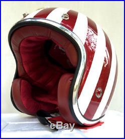 Masei 501 Red Ruby Cafe Racer Open Face Motorcycle Helmet