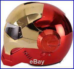 Masei Iron Man Full Open Face Motorcycle Helmet with visor Plating Golden Red
