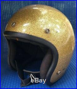 McHAL MACH I or II Open Face Helmet Gold Metal Flake size M vtg 1970s Made USA